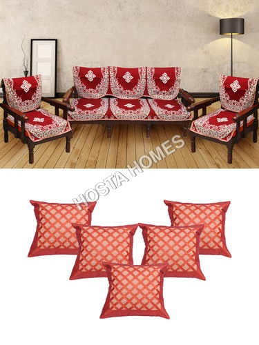 Poly Cotton 5 Seater Sofa Covers :: Cushion Covers