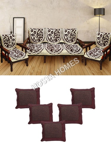 Leaf Design Poly Cotton 5 Seater Sofa Cover With Cushion Covers