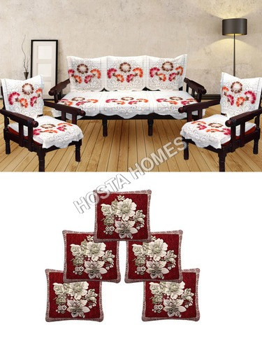 Floral Poly Cotton 5 Seater Sofa Cover :: 5 Cushion Covers