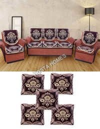 Brown Color 5 Seater Sofa Cover With Cushion Covers 5 Pieces