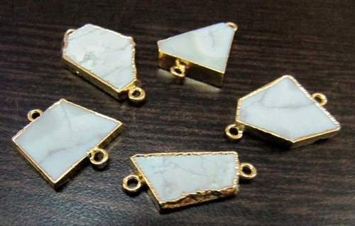 White Agate Slice Connector