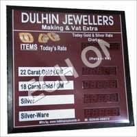 LED Jewellers Rate Card Display