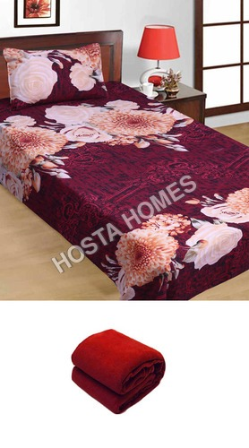Multicolor Floral Poly Cotton Single Bed Sheet :: 1 Pillow Cover With Single Blanket
