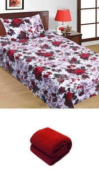 Floral Single Bed Sheet 1 Pillow Cover :: Plain Single Blanket