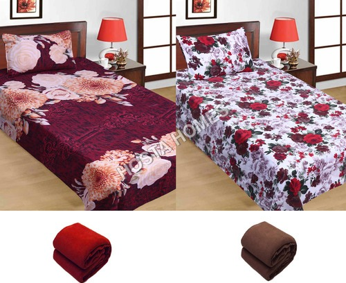 Super Home Combo Single Poly Cotton 2 Bed Sheets 2 Pillow Covers :: 2 Pieces