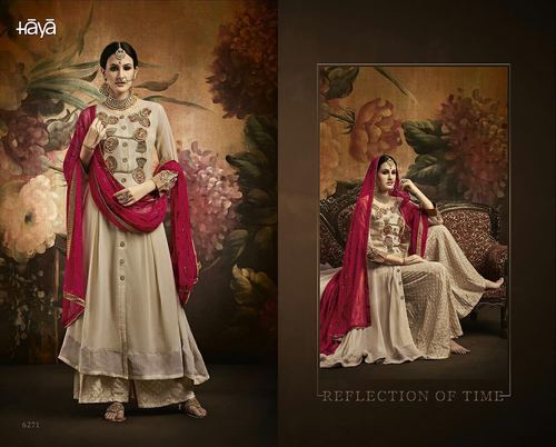 Long Beige Fancy Salwar Suit