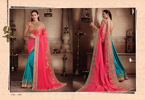 Heavy Chiffon Embroidary Work Saree
