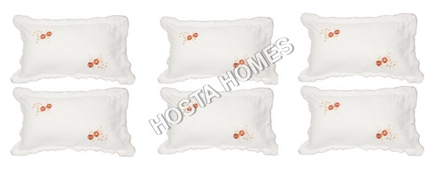 White Color Floral Cotton Pillow Covers 6 Pieces Set
