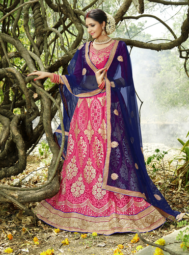 Pink Blue Heavy Work Lehnga Choli