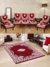 Red Color Center Floral Sofa Cover 6 Pieces :: Velvet Quilted Carpet