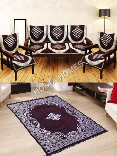 Abstract Design 6 Pieces Poly Cotton Sofa Cover :: 1 Velvet Quilted Carpet