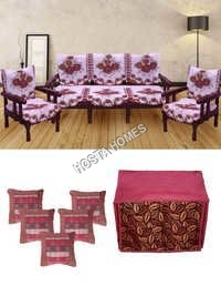 Multicolor Floral Poly Cotton Sofa Cover :: 5 Cushion Covers :: 1 Microwaves Cover