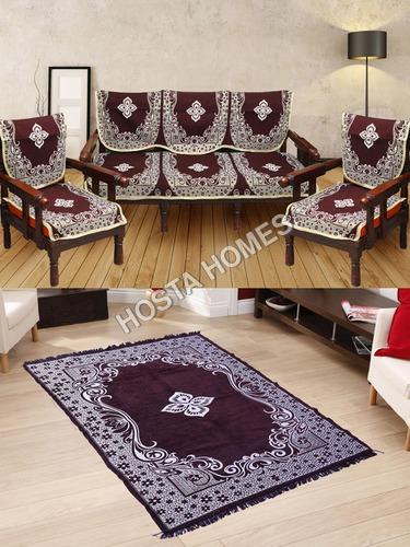 Center Floral Brown Color Sofa Cover :: Velvet Quilted Center Floral Carpet