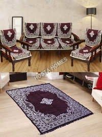 Center Floral Brown Color Sofa Cover :: Velvet Quilted Center Floral Carpet