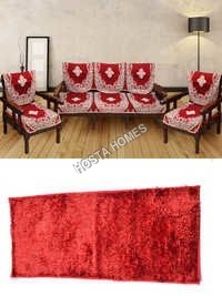 Center Floral Poly Cotton Sofa Cover :: Runner Mat Red Color