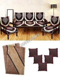 Super Home Jambo Combo Brown Sofa Cover :: 5 Cushion Covers :: 2 Mats