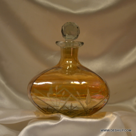 Vintage Glass Round Decanter Amber