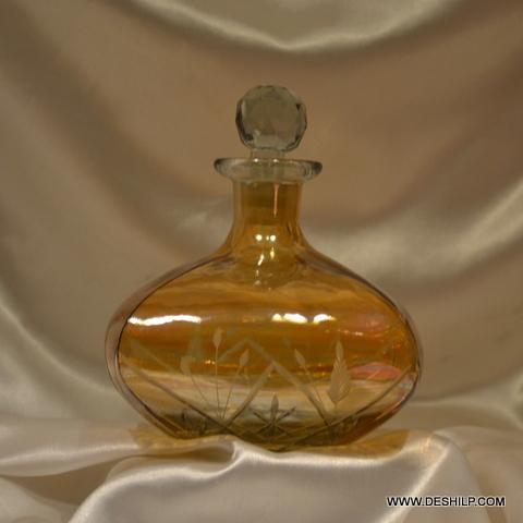 Vintage Glass Round Decanter Amber