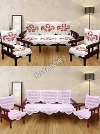 Multicolor Floral Poly Cotton Sofa Cover :: 5 Seater Sofa Set White Color