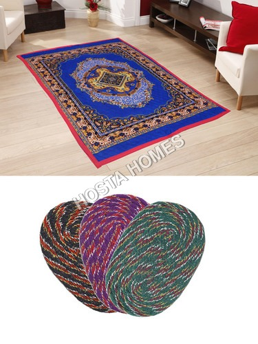 Multicolor Poly Cotton Quilted Carpet :: Door Mats Set Of 3 Pieces