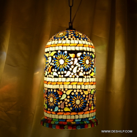 Hanging stained glass light Light Diamond Vintage swag hanging lamp light
