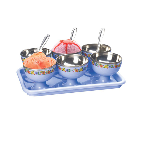Plastic Ice Cream Set With Steel Inside