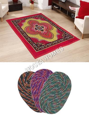 Multicolor Floral Poly Cotton Carpet :: 3 Pieces Door Mats