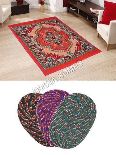 Floral Poly Cotton Carpet :: Door Mats 3 Pieces
