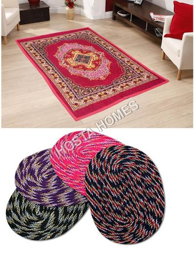 Poly Cotton Carpet :: 4 Door Mats Multicolor