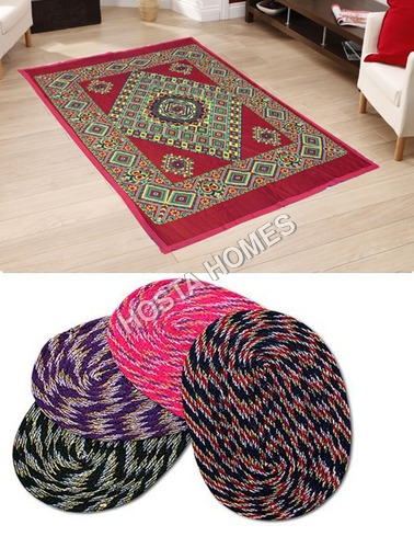 Abstract Design Poly Cotton Carpet :: 4 Pieces Door Mats