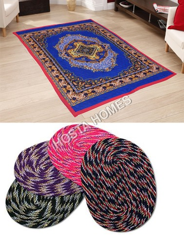 Blue Color Poly Cotton Carpet :: Multicolor 4 Door Mats