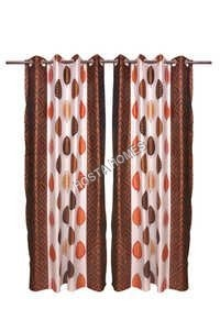 Leaf Design Polyester Curtain Set Of 2