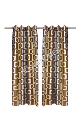 Multicolor Polyester Window & Doormats Curtains Set Of 2