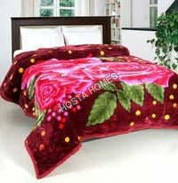 Floral & Leaf Design Multicolor Polyester Mink Blanket