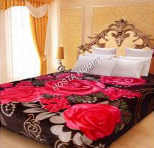 Floral Printed Polyester Mink Blanket