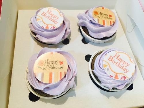 Blueberry Happy Birthday Cupcake
