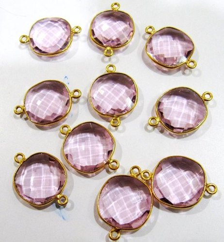 Pink Hydro Quartz Cushion  Connectors,