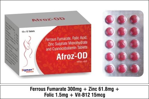 Ferrous fumarate 300mg+Folic Acid 1.5 mg+Cynocobalamine -15mcg+Zinc Sulphate Monohydrate - 61.8 mg
