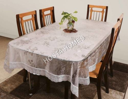 Decor Transparent Dining Table Cover 8 Seater Diamond White Lace 90 X 90 inches