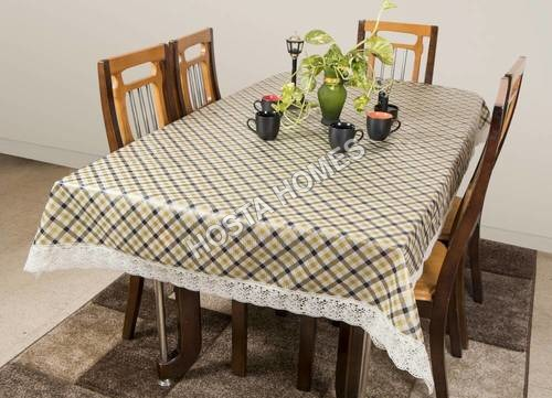 Dining Table Cover Transparent 6 Seater 60x90 Inches (White Lace)