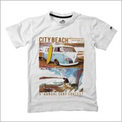 White Beach Print T Shirt