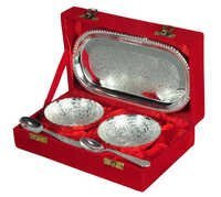 2 Bowl,Spoon With Tray in Wooden Box Gift Set