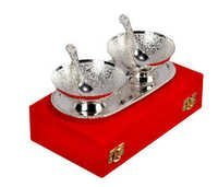 2 Bowl & Spoon With Tray in Wooden Box gift set