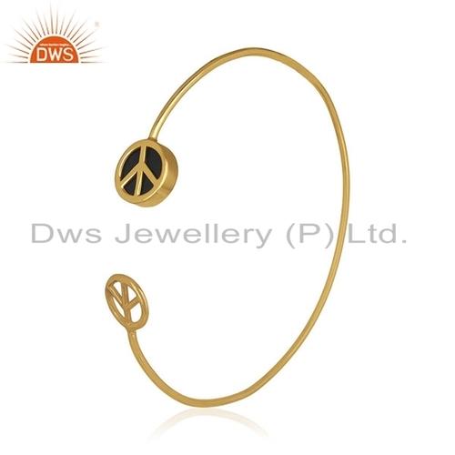 Gold Plated Peace Sign Gemstone Bangle