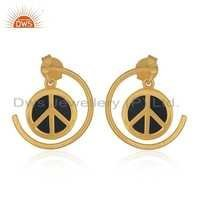 Gemstone Gold Plated Silver Peace Sign Earrings