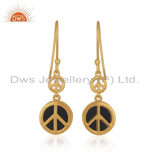 Peace Sign Gold Plated Gemstone Earrings