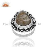 Rutile Gemstone 925 Silver Oxidized Ring