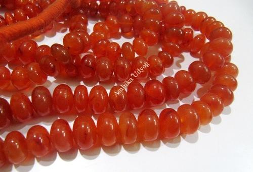 Carnelian Rondelle Plain Smooth Beads