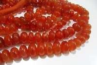 Carnelian Rondelle Plain Smooth Beads