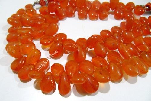 Carnelian Pear Shape Plain Smooth Beads